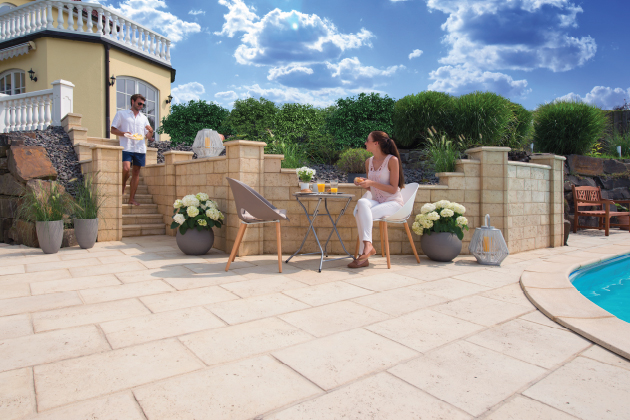 Pflastersteine Terrassenplatten Gartenmauern Palisaden Kann
